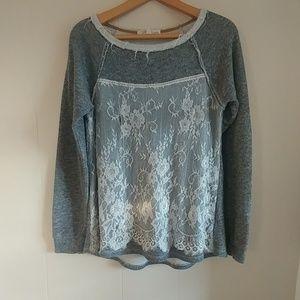 Rewind Gray Lace Distessed Sweater Scoop Neck